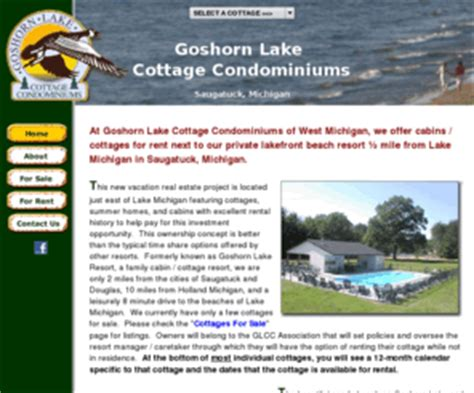 Fishing Boat Rental Grand Rapids Mi by Goshorn Lake Cottage Condominiums Saugatuck Michigan
