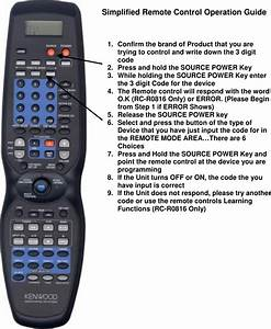 Kenwood Rc R0816 Owner S Manual Simplified Remote Control
