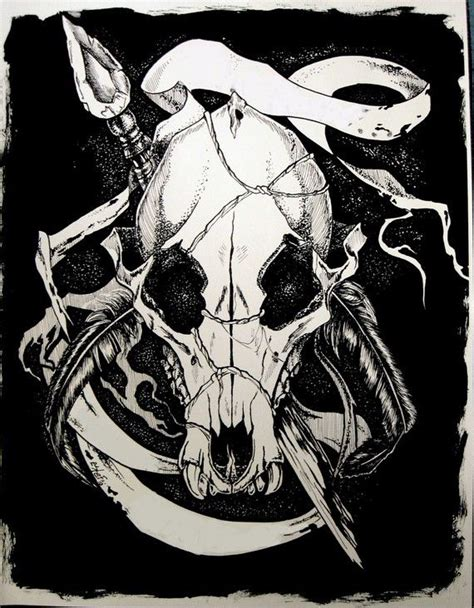 Ink Drawing Print Apocalypse Wolf Skull Inch