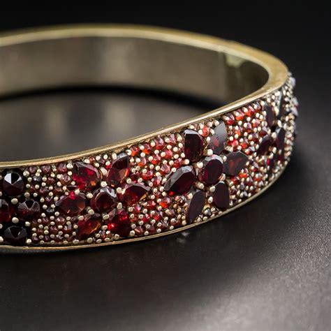bohemian garnet hinged bangle bracelet