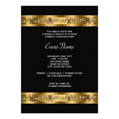 Black and Gold Corporate Party Event Custom Invitations