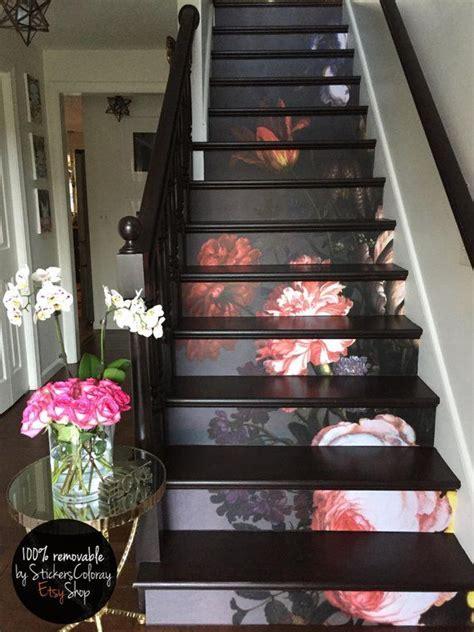 step stair riser decal vintage painted flowers stair