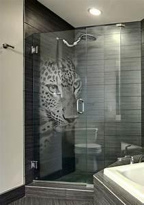 Custom, Etched, Glass, Shower, Door, With, U0026, 39, Panther, U0026, 39, 3d, Laser, Design, By, Glassarium