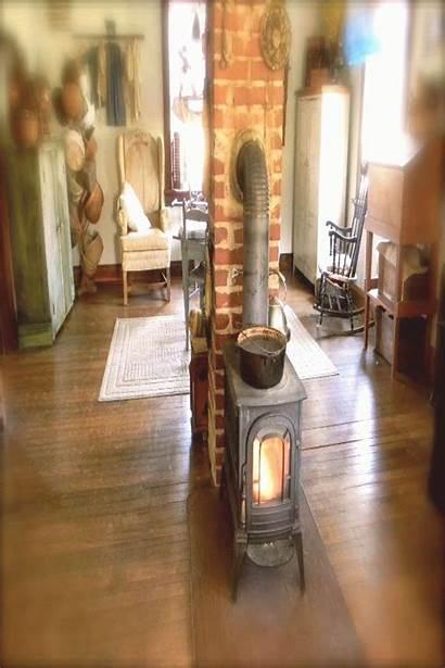 Stove Burning Wood Middle Chimney Fireplace Living