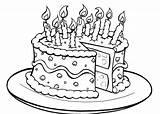 Cake Coloring Birthday Printable sketch template
