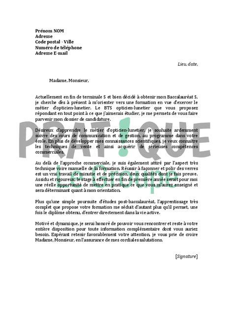 formation de cuisine gratuite lettre de motivation pour un bts opticien lunetier pratique fr