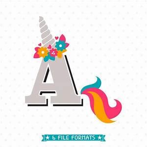 Letter A Unicorn SVG - Initial svg - Girls Unicorn Shirt