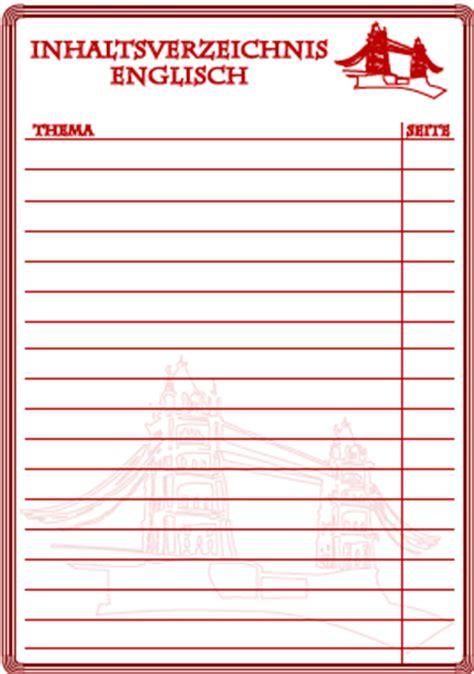 inhaltsverzeichnis englisch  ausdrucken