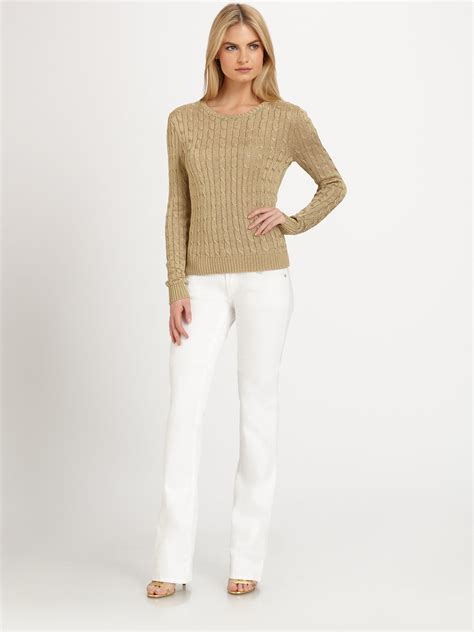 Ralph Lauren Black Label Metallic Cableknit Sweater In
