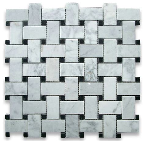 marble basketweave floor tile carrara marble basketweave mosaic tile black dots 1x2 polished traditional wall and floor tile