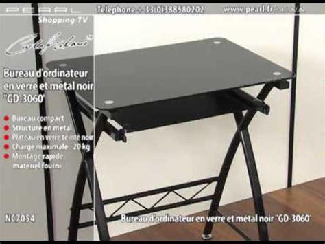 bureau plateau verre nc7054 bureau d 39 ordinateur en verre et métal noir 39 39 gd