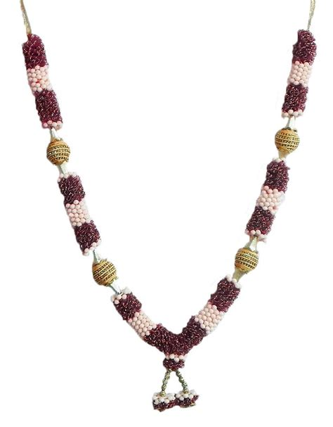 maroon net cloth with beaded garland