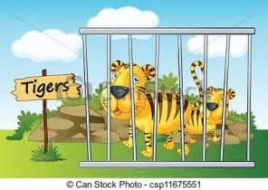 illustration   tiger  cage  wooden board