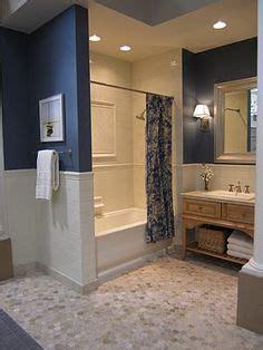 navy walls  whitealmond bath fixtures bathroom