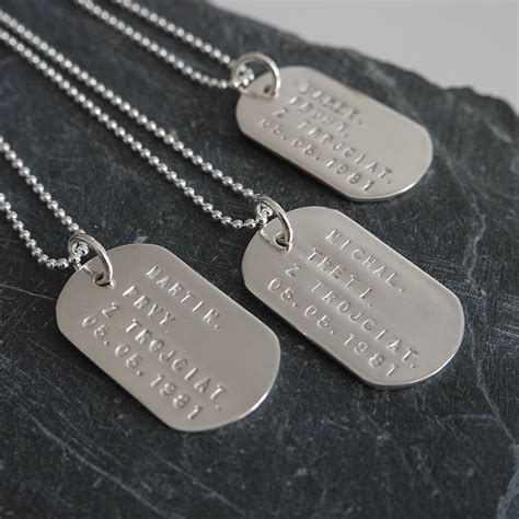 Personalised Solid Silver Identity Dog Tags Dizzy