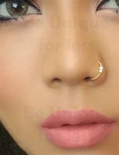 Fake Clip on 2Crystal Gem Diamante Nose Ring Hoop Stud