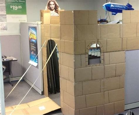 Office Space Knocking Cubicle by Cardboard Cubicle Castles Made Me Giggle