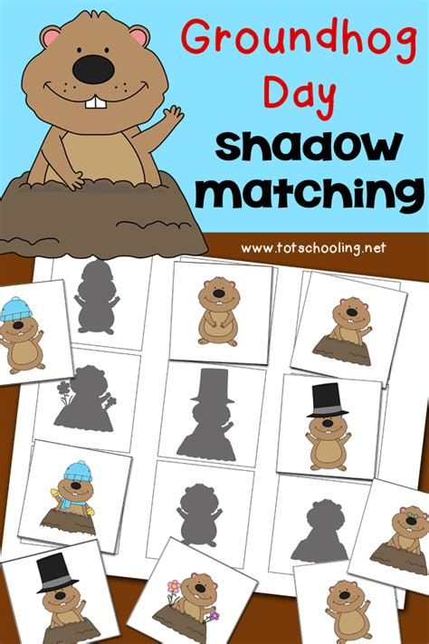 groundhog day shadow matching activity totschooling 991 | cover