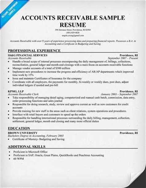 Resume I Am Working by Accounts Receivable Resume