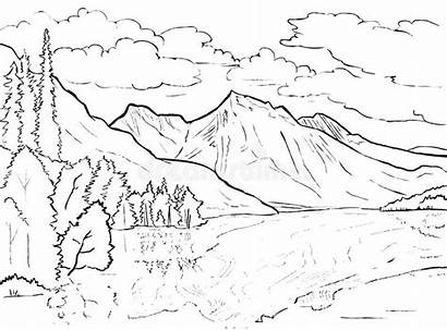 Coloring Lake Landscape Mountains Canadian Tr Canada