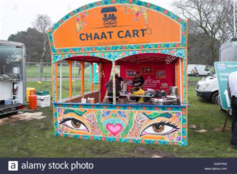 indian cart chaat cart indian street food seller stall lunch stock