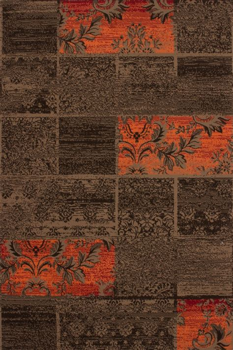 tapis moderne marron et orange milan 120x170 cm