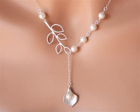 Wedding Jewelry Ideas : Wedding Jewelry Pearl Lariat Necklace Calla Lilly With Leaf