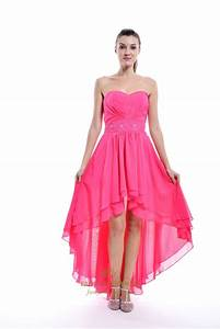 Hot Pink Strapless High Low Chiffon Bridesmaid Dress With ...