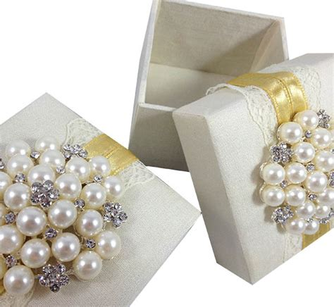 ivory silk lace wedding favor box luxury wedding