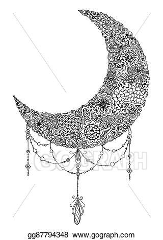 Vector Stock - Hand drawn moon with flowers, mandalas and