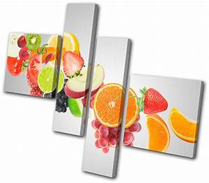 Food Kitchen Fruit juice MULTI CANVAS WALL ART Picture ...