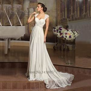 Simple cheap beach wedding dress lace chiffon a line for A line corset wedding dress