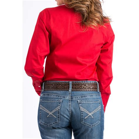 Cinch Womens Solid Red Long Sleeve Western Shirt