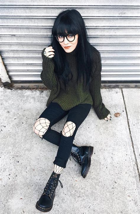 11 Cool Outfit ideas for March   Fishnet tights Dr martens and Fishnet