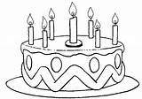 Coloring Cake Birthday Pages Print sketch template