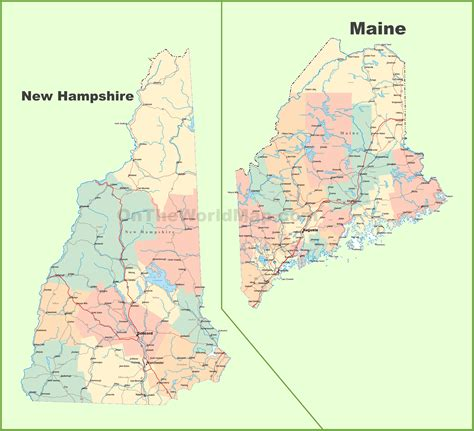 hampshire  map  usa  travel information