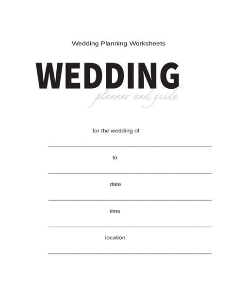 wedding planning worksheets sle free