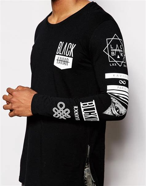 Print Sleeve Shirt image 3 of black kaviar longline sleeve t shirt with