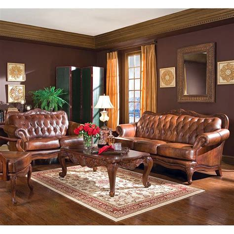 victoria leather living room set coaster furniture