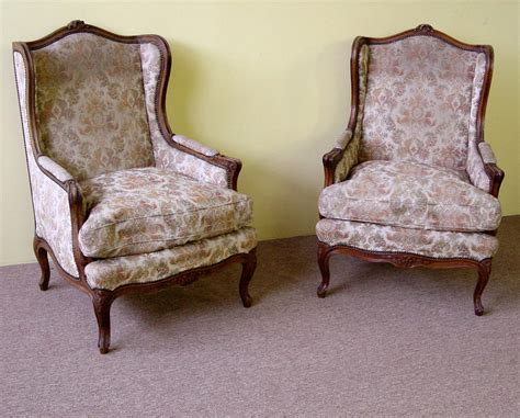 Pair Of Large, Louis Xv Style, Wingback Chairs