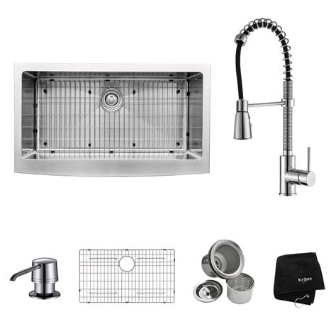 home depot kitchen sink accessories kraus all in one farmhouse apron front stainless steel 36