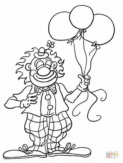 Coloring Clown Pages Birthday Party Printable Drawing