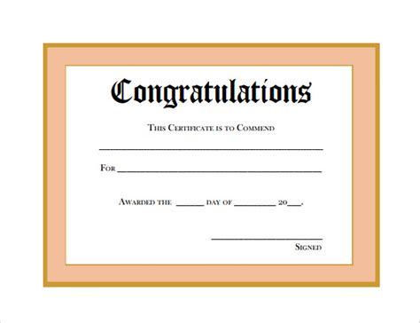 congratulations certificate templates sample thank you certificate template 10 documents
