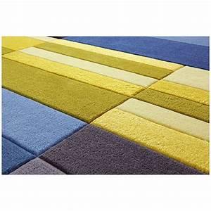 Tapis split bleu et jaune esprit home 70x140 for Tapis jaune et bleu