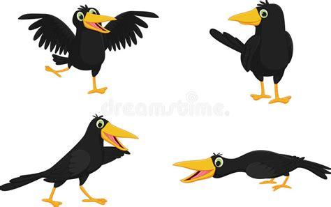 Set Of Cute Cartoon Crow Stock Vector. Illustration Of