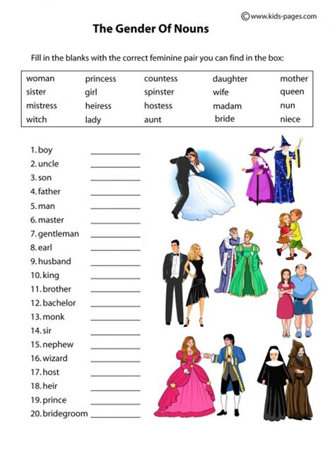 nouns gender worksheet