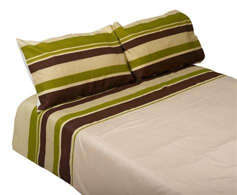 Green Striped Duvet Cover & Two Pillowcases Set Easy Care