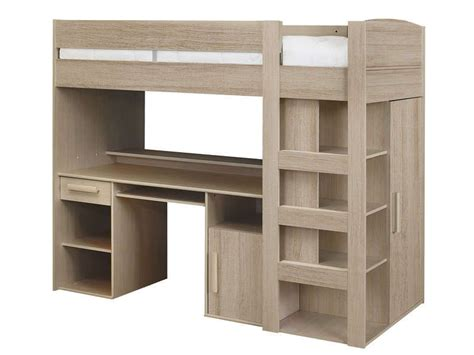 lit combiné bureau conforama lit mezzanine 90x200 cm montana chêne gris conforama