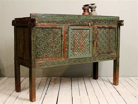 Furniture India by Reclaimed Antique Indian Green Damachiya Media Console