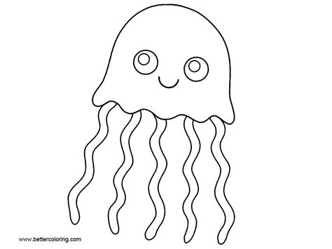 jellyfish coloring pages cartoon clip art  printable